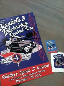 Each person participating in the Blankets & Blessings Revival Run will receive a 11x17 Event poster,dash plaque and window decal
